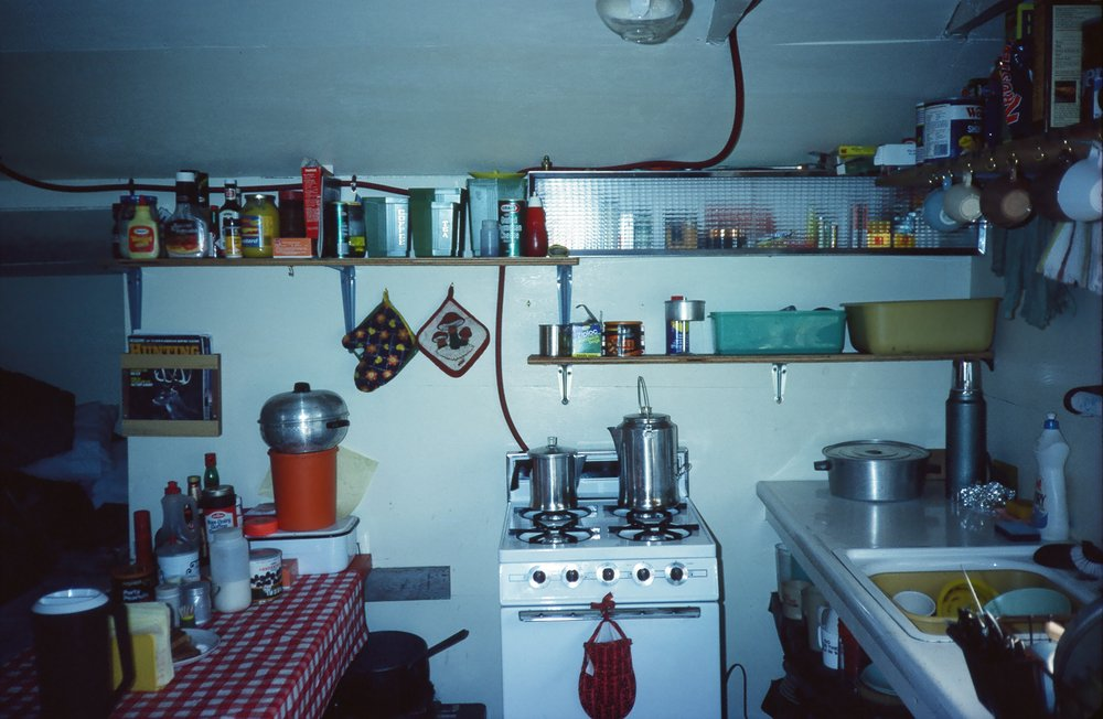 The kitchen inside the cabin.  The cabin worked great for two clients and two guides.