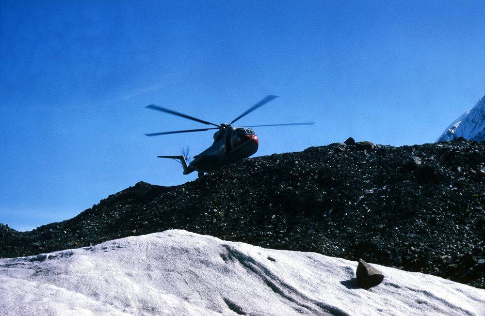 The chopper landing on the glacier.