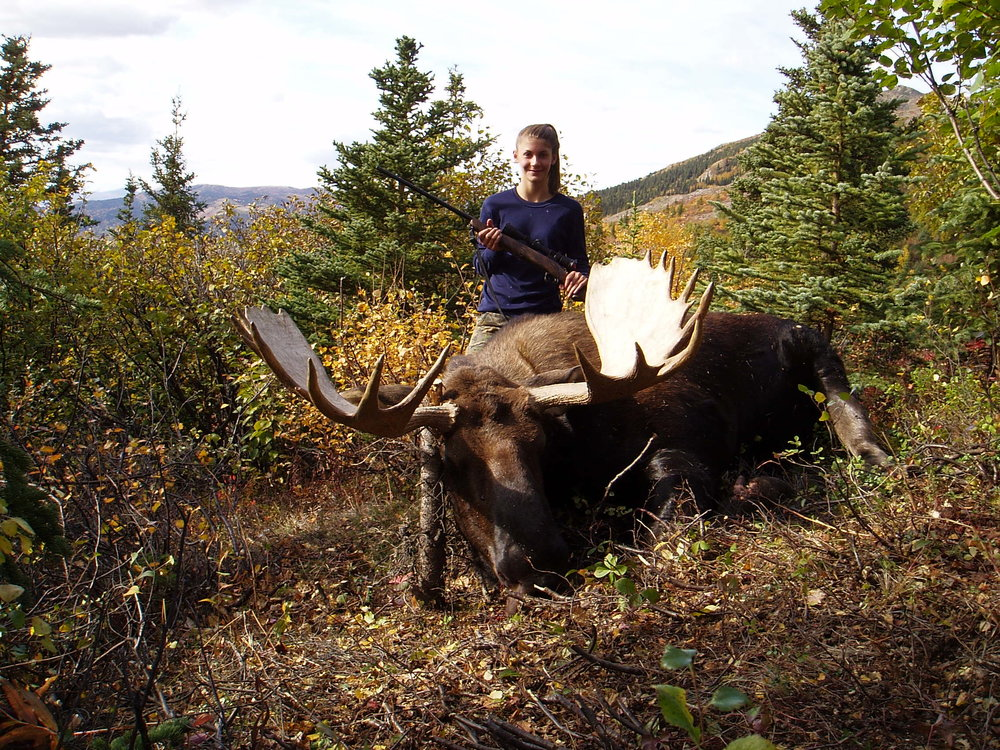 Rachel with her first moose high on the hillside.  A great first moose.