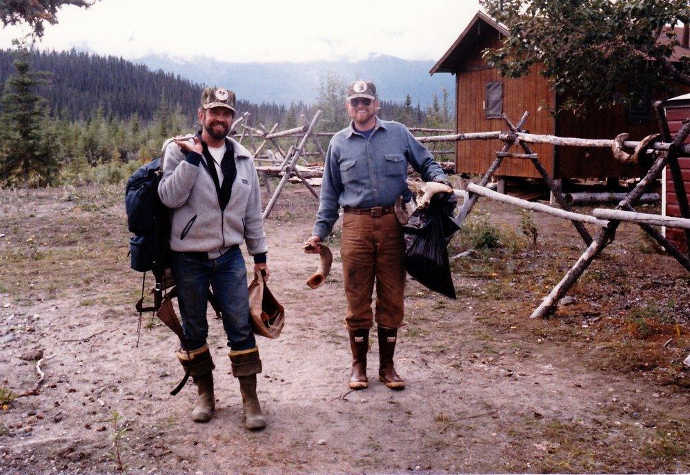 Brent and I leaving Bryson Bar in 1984 after our first season in the Wrangell's.