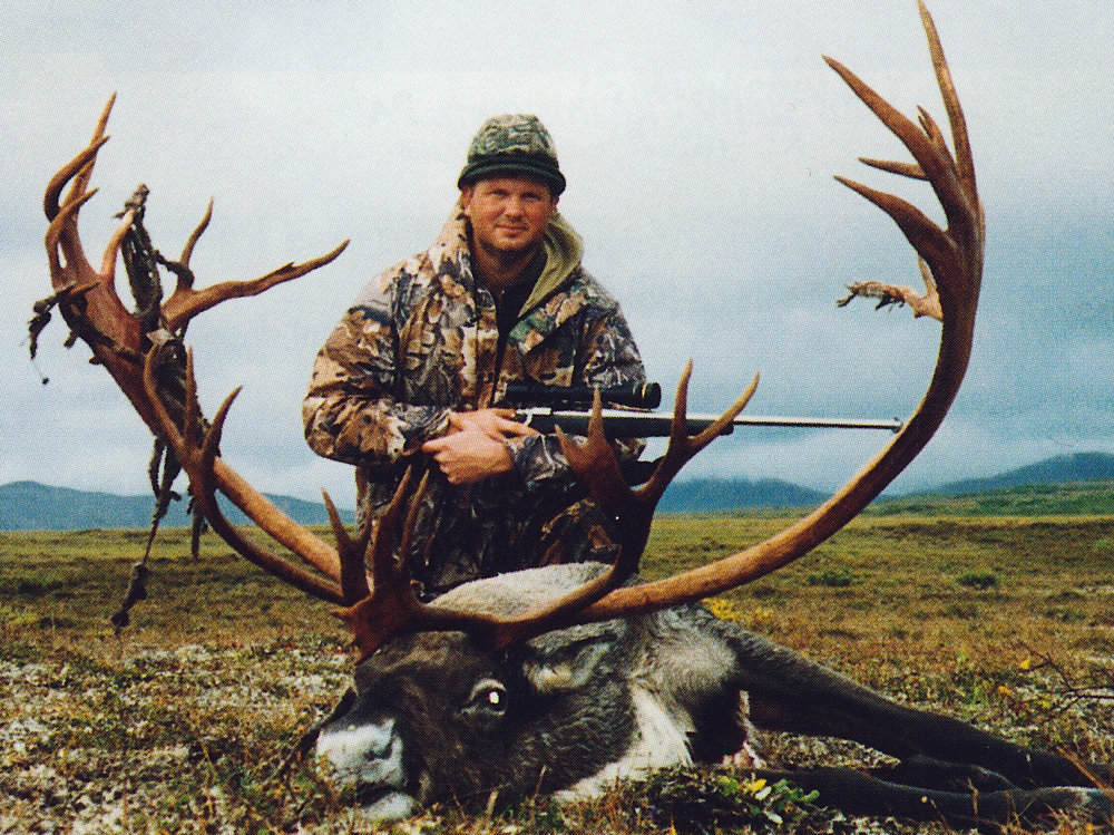 Shannon Schave of IL with his big, wide and regal 434 6/8 B&C caribou.  Shannon's guide was Mark Confer.