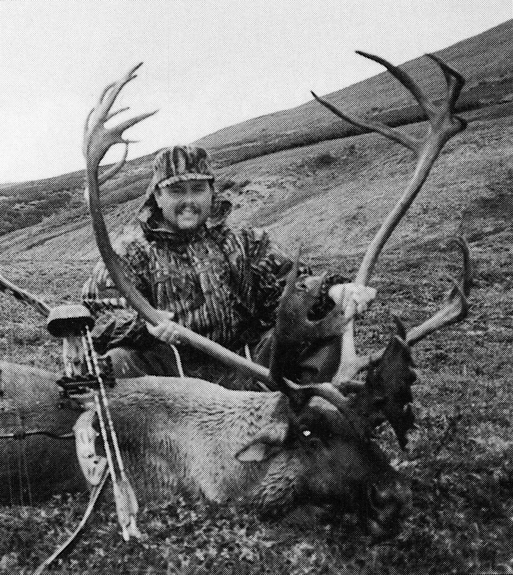 Jim Wondzell of WI with our only bow killed B&C caribou.  Jim's caribou scored 401 B&C.  His guide was my son-in-law Sagen.