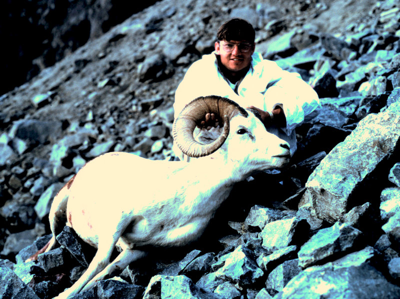 "Ron with his 36 1/2"" ram.  Rough country."