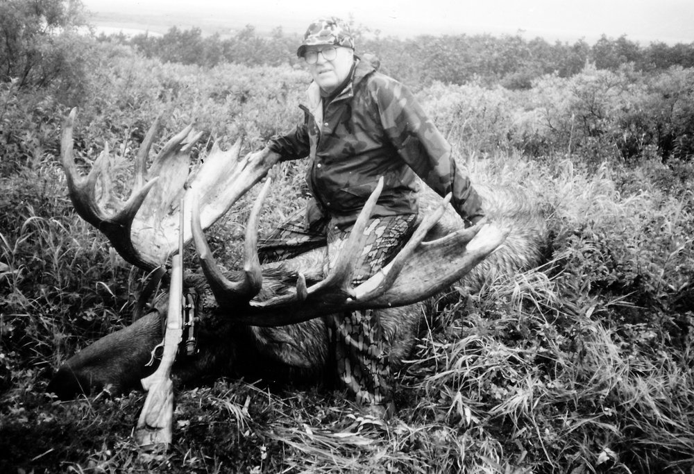 "Gen. Marvin Fuller, KS, with our largest scoring B&C moose.  It scored 243 3/8 B&C points with a 67 1/2"" spread.  It was taken in '88 on the Alaska Peninsula."