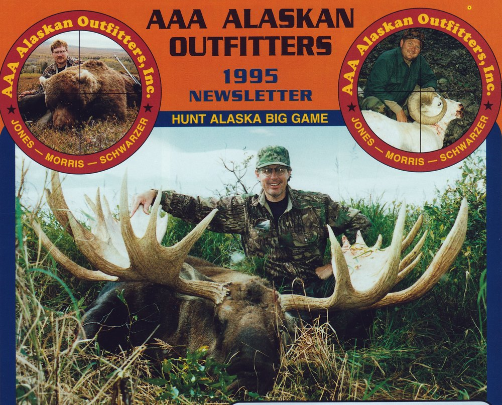 "Marty Johnson, AZ, with his 65"" moose taken in Western Alaska in '95."