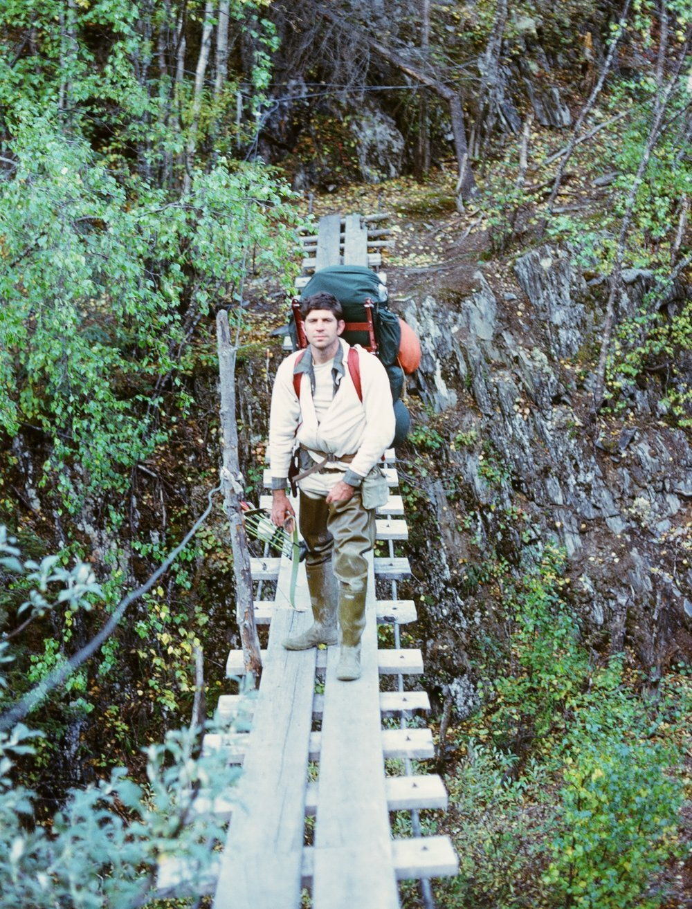 The swinging bridge that no one liked. It went over a 100 foot deep gorge with class 4 rapids.