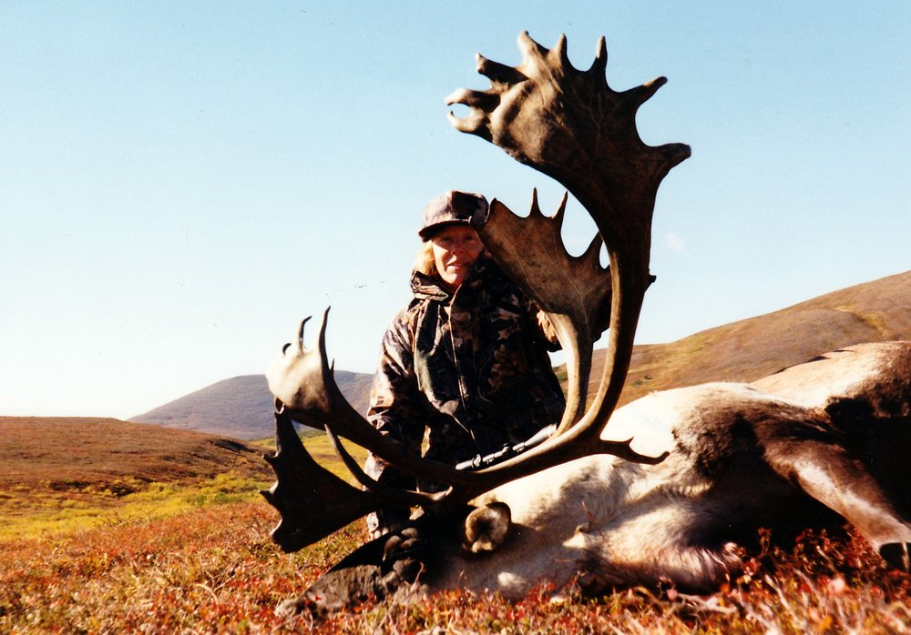 Danese Minnich, PA, with her 398 6/8th B&C caribou.  Fantastic palmation.