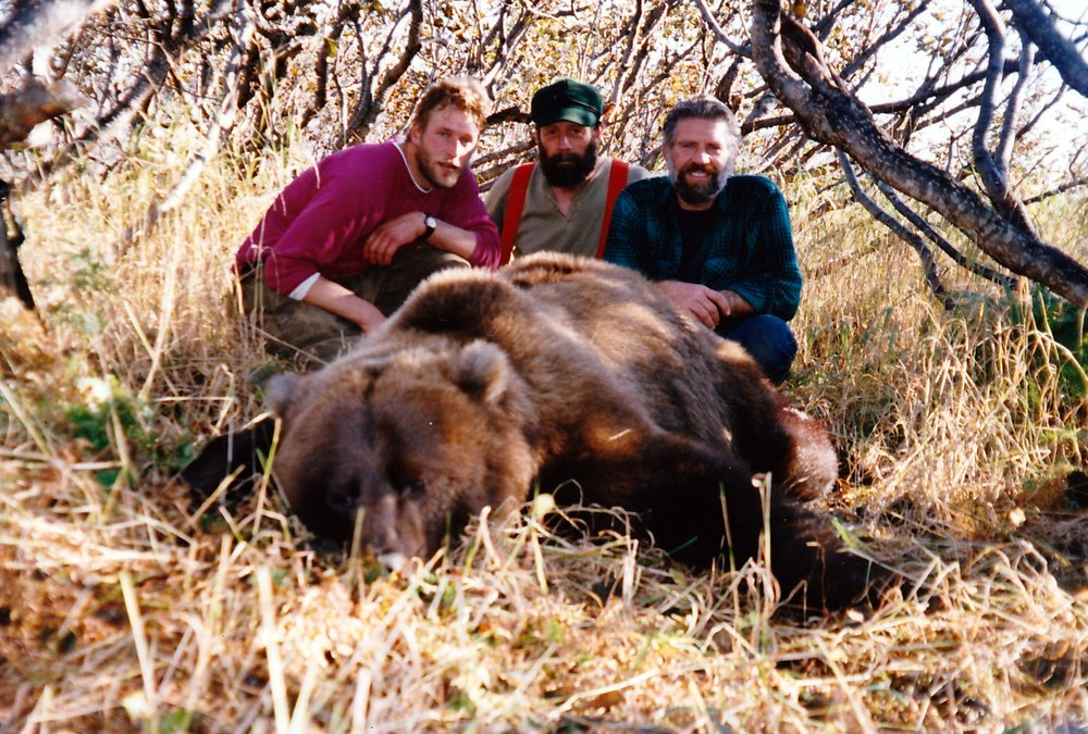 (L to R) Guides Mark Confer and Steve Lanphier and me with Don Renard's brown bear.  This is the only picture I have of Steve.
