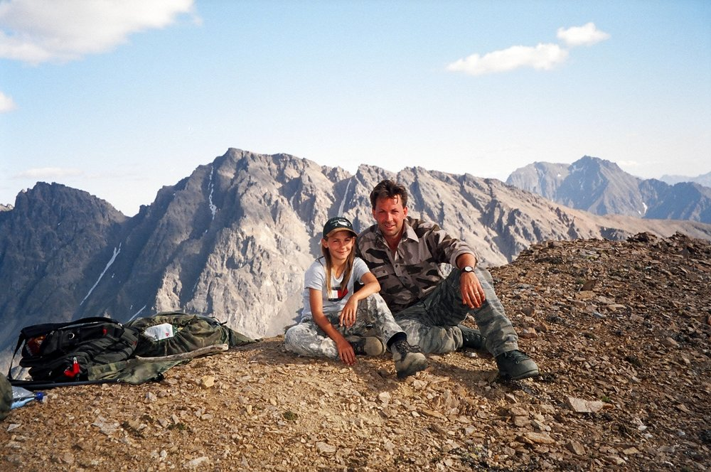 Rachel with her dad on the ridge we used to follow the big rams.