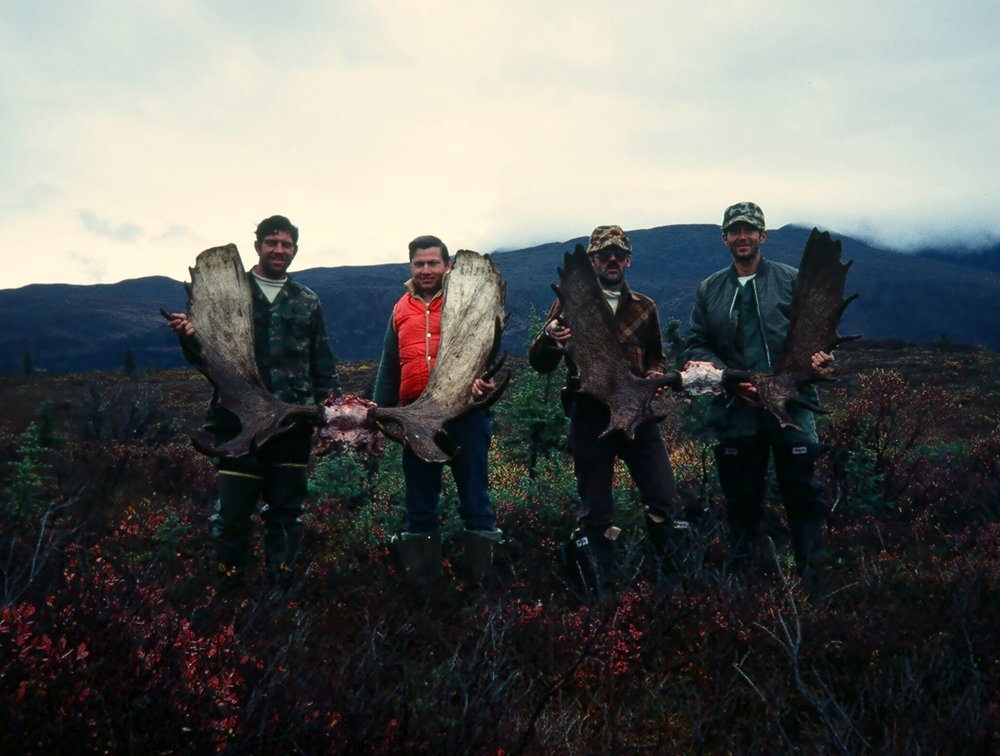 The end result of hard hunting!  (R to L) Mike, Earl, Ron and myself.  Great hunt!