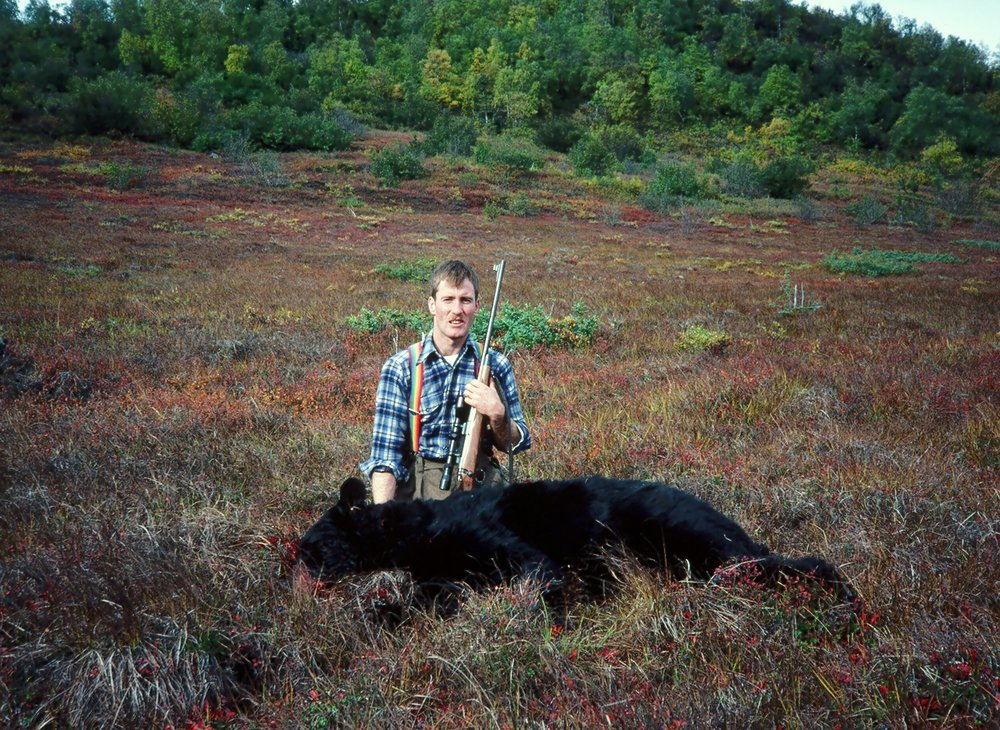 "Mark with his beautiful 6'7"" black bear."