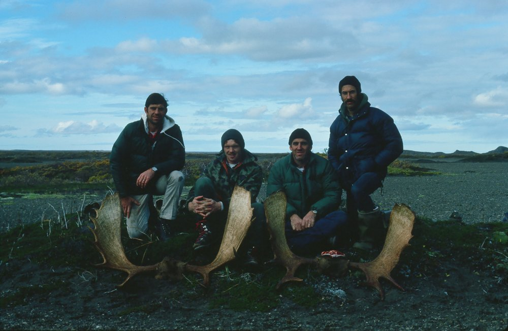 My first Alaska Peninsula moose hunt.  (R to L) Doug Simmons, Chuck Berry, Charles James and me.  We were waiting to be moved down river to hunt caribou. Details in a later story.