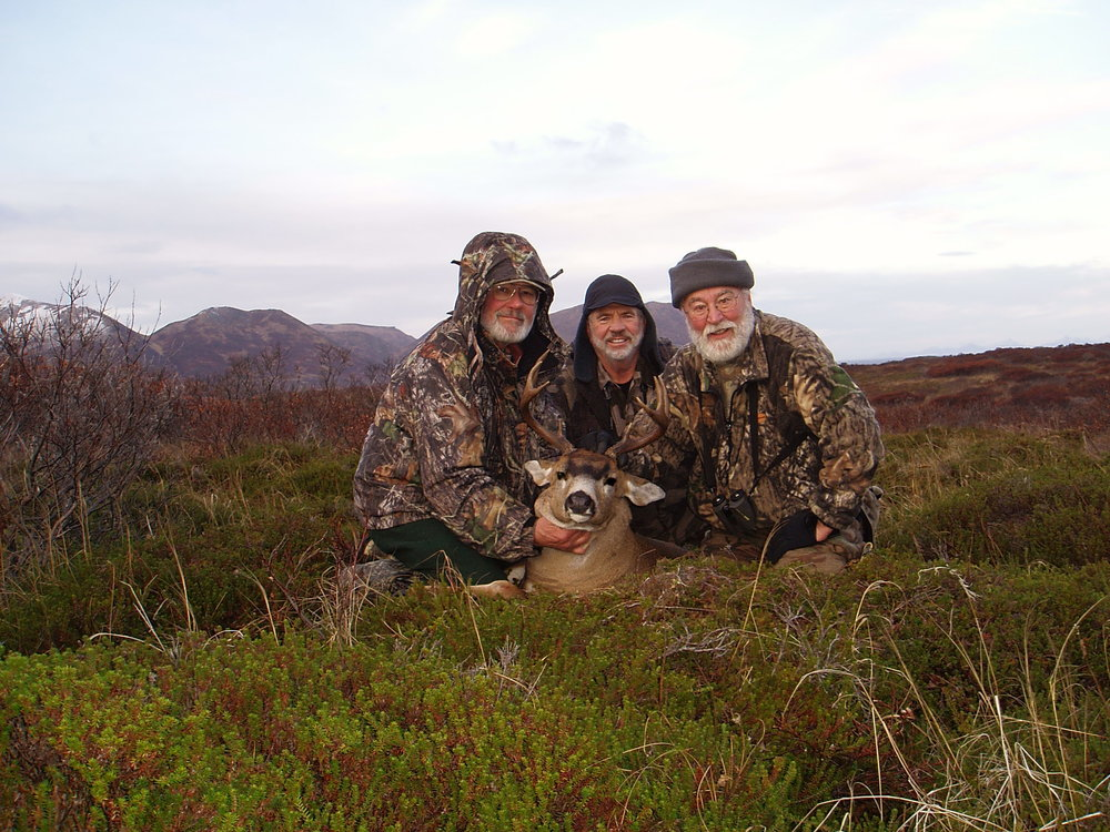 A few years ago hunting Sitka Black Tailed deer on Kodiak with two of my old friends Dan Schwarzer and Earl Boucher.  We have spent a lot of time hunting together.