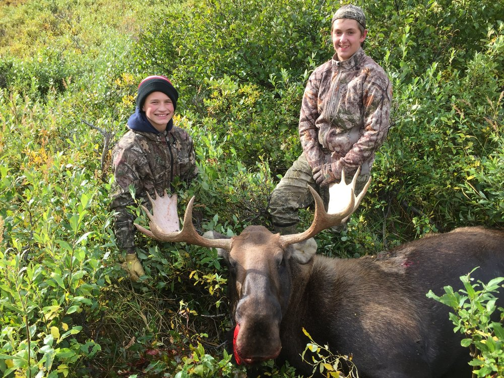 "(L to R) Bryan and Jack with Bryan's 42"" moose.  Happy times!"