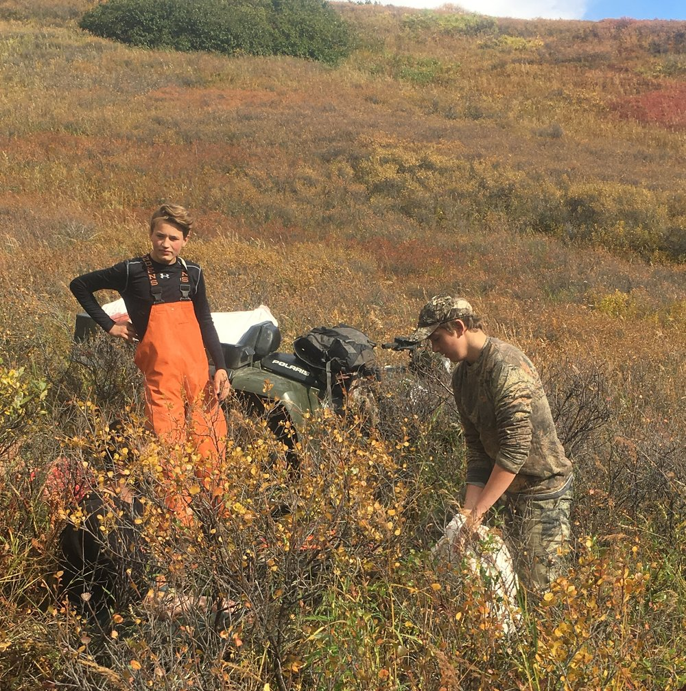 Bryan and Jack helping load the Ranger.  It's a big job taking care of a moose.