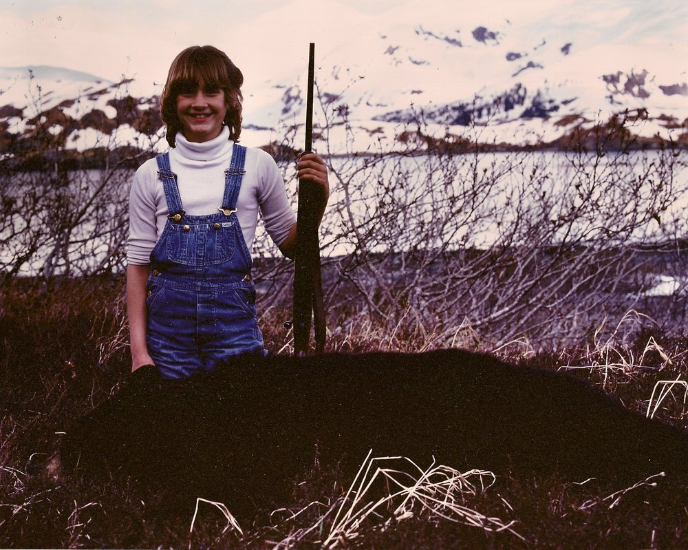 Michelle, age 10, with her black bear.