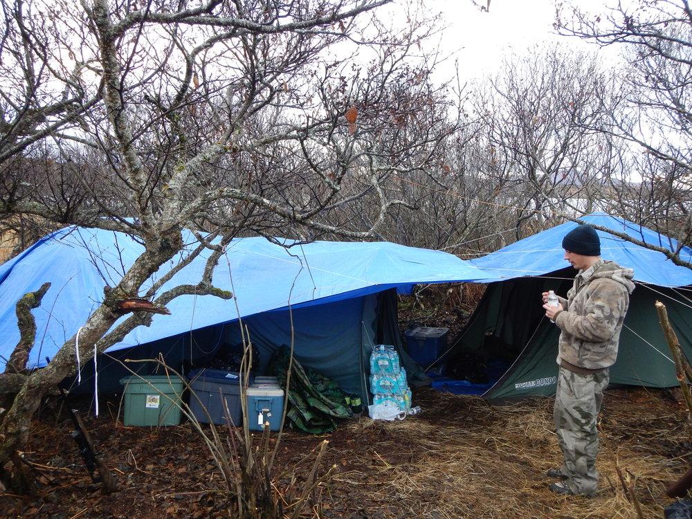 Jared and a super nice camp set-up.