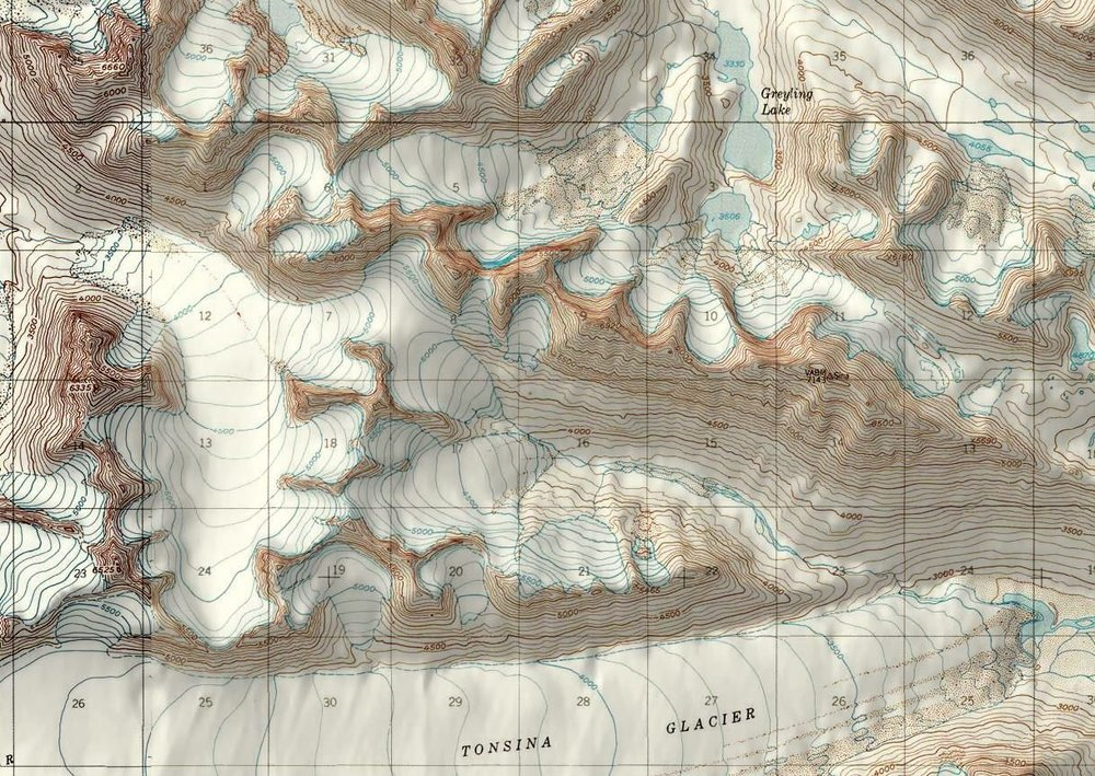 Map of the area. We started from the far end of Greyling Lake and traveled southwest.