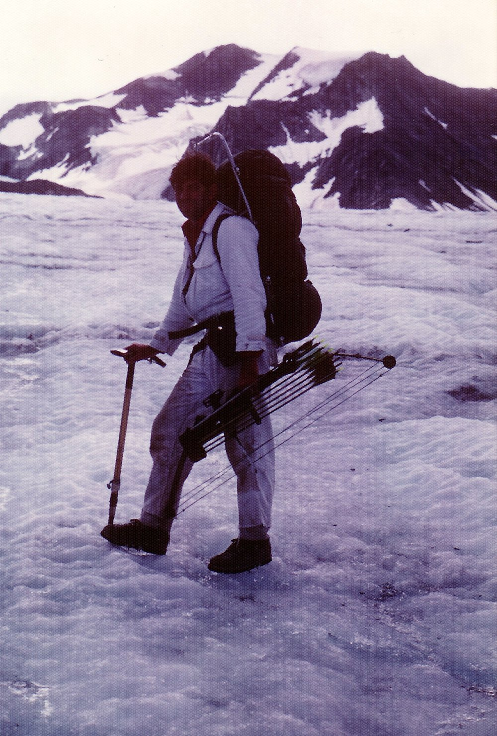 Me traveling on the glacier. If you look close you can see my instep ice cramp-on's.