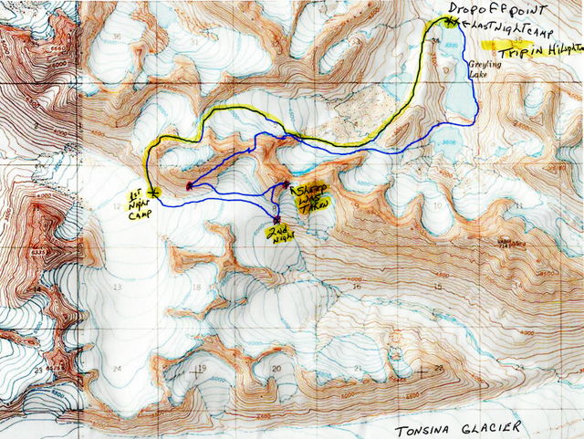 Map of the trip. The up and over trail is hi-lighted. Rough country.