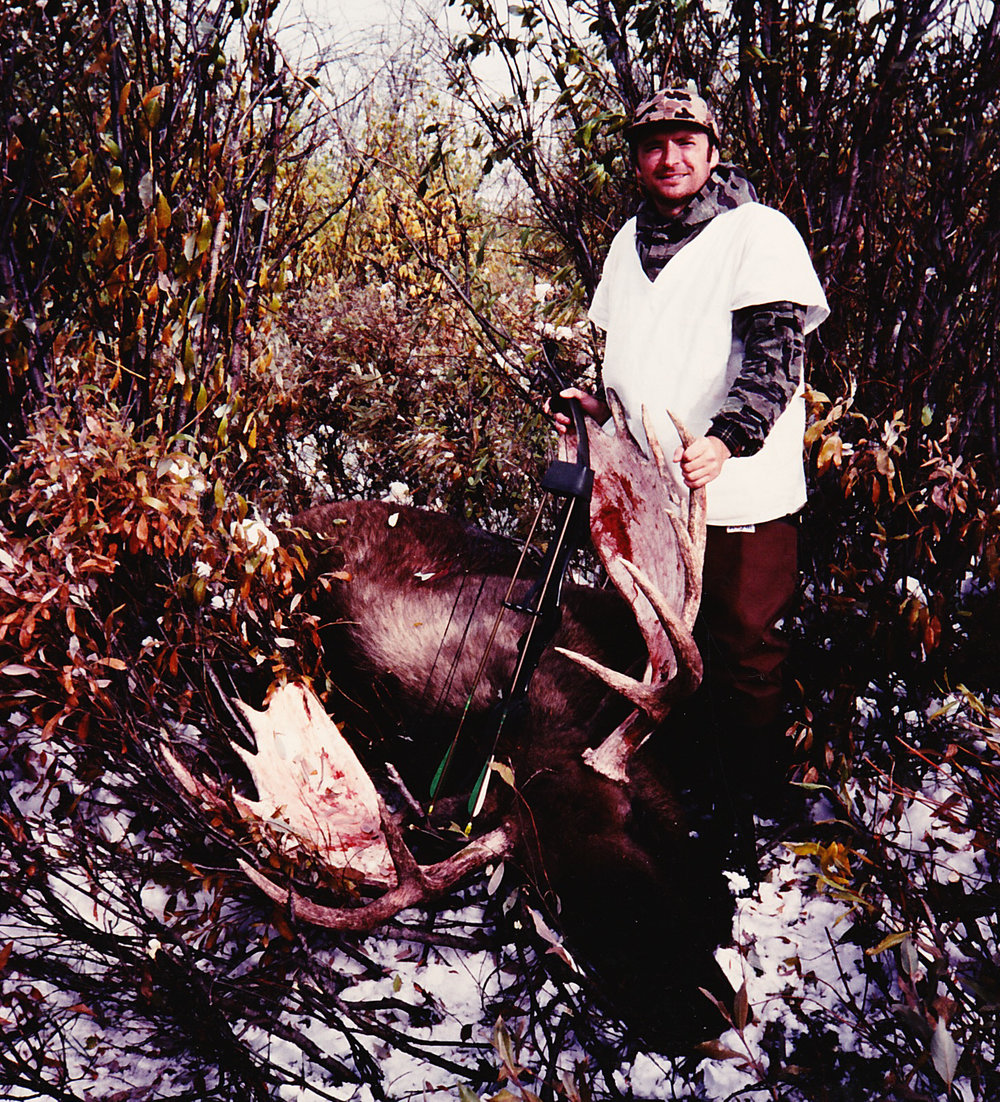 "John Ribic with his 53"" moose that he took with his bow."