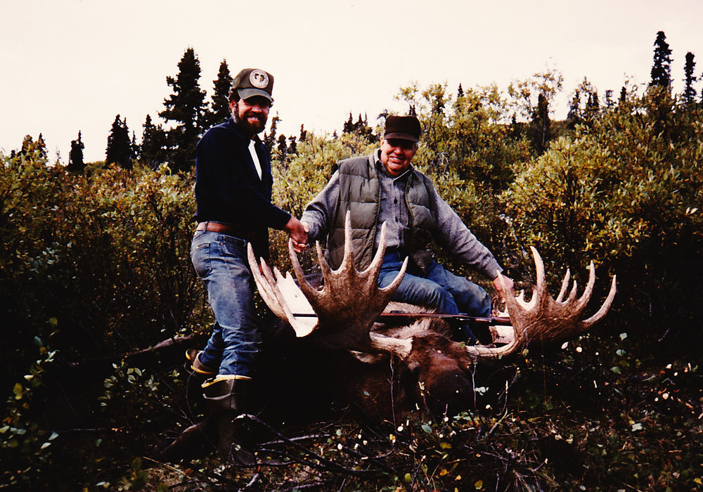 "Fred Franz and me with his heavy browed 57"" moose. Fred was 76 years old."