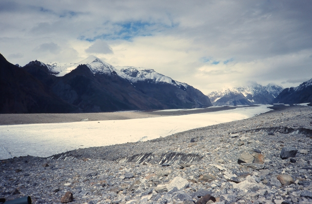 Looking up Barnard Glacier and the white ice trail.