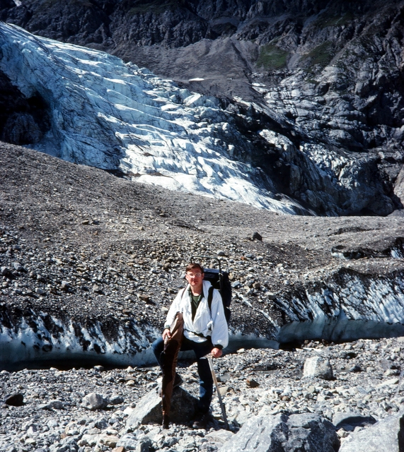 Ron standing very close to where the glacier fell on Marty and Mike.