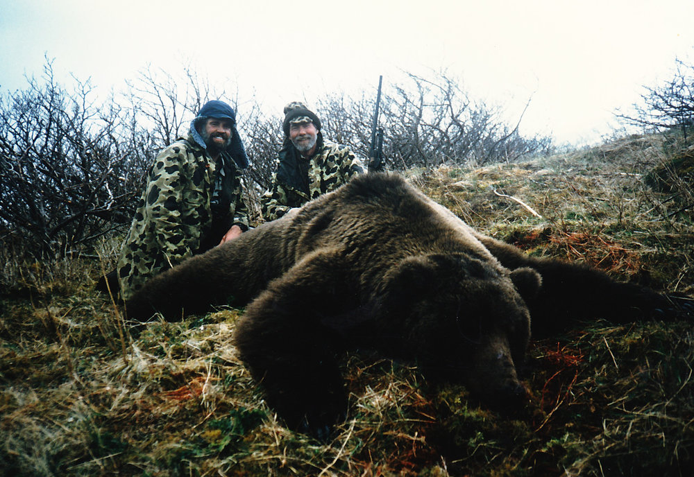 "Dave and me with his 10'3"" gift bear."