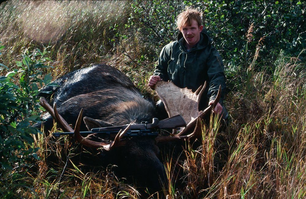 "Charles with his 52"" moose."