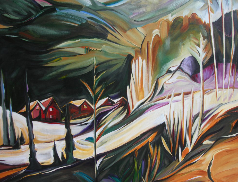 Mountains - Mountain Hideaway (Eastern Series #2)  54 X 54  SOLD (1000 x 750).jpg