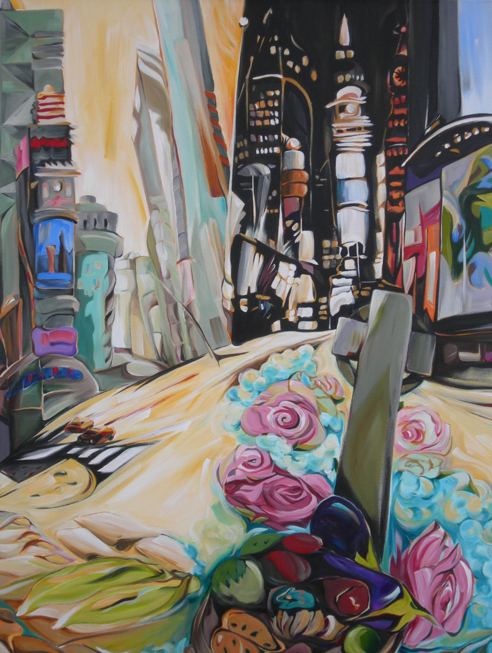Cityscapes - Frida's Fiesta - Times Square (NYC Series) 54 X 54  SOLD (1000 x 1333).jpg