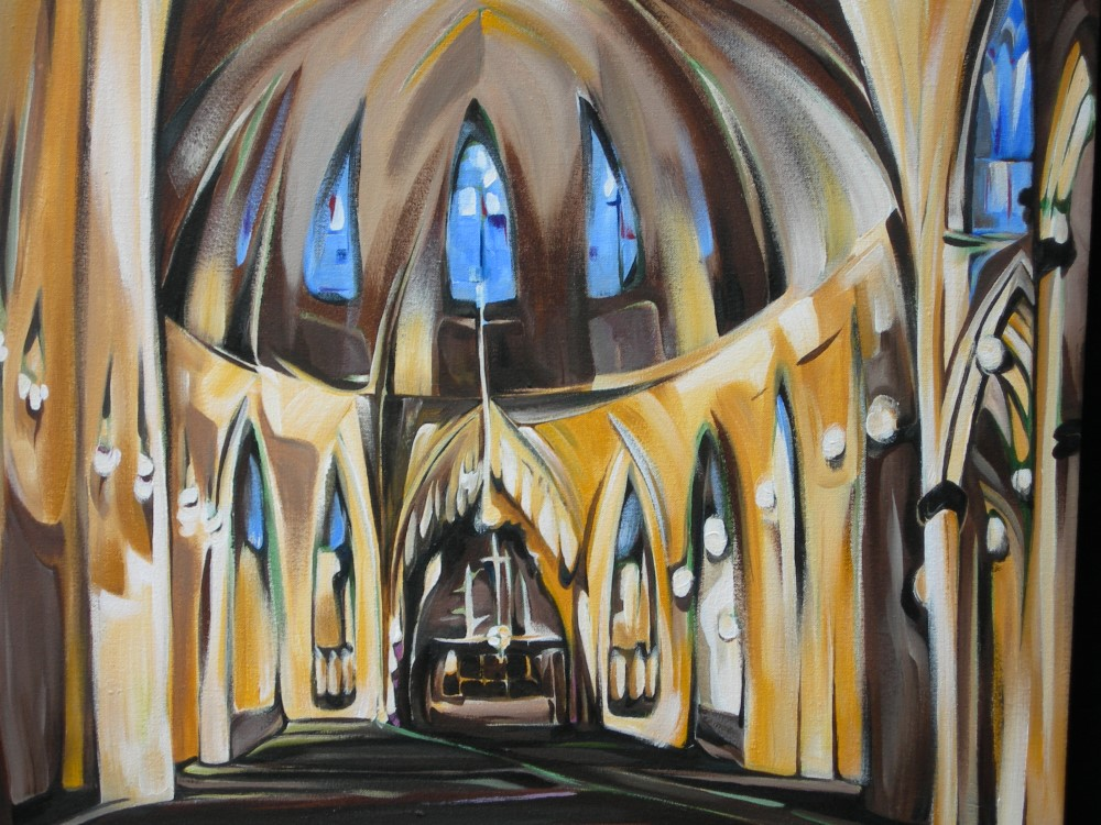 Cityscapes - Vespers at St. Patrick's (NYC Series)  26 X 26  SOLD (1000 x 750).jpg