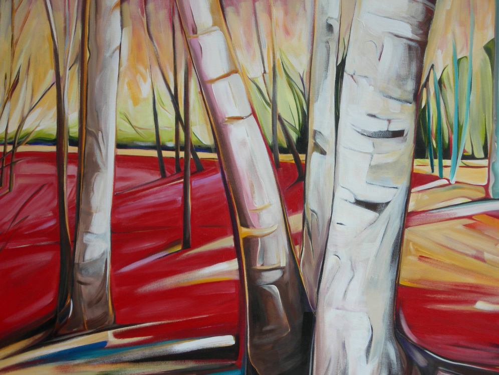 East of Eden 2011 - Birches on the Escarpment #1 (Sunsilk Red Series)  40 X 60  AVAILABLE (1000 x 750).jpg