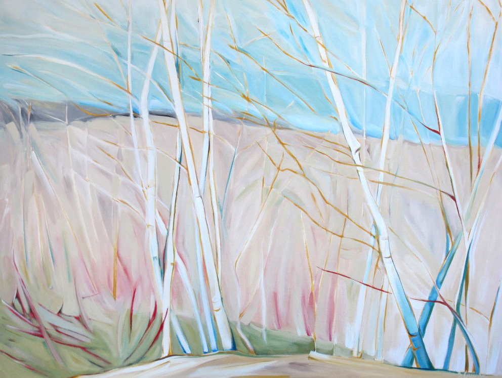 East of Eden 2011 - South Georgian Bay, Birches on the Escarpment #3 (Sunsilk Red Series)  48 X 60  AVAILABLE (1000 x 750).jpg