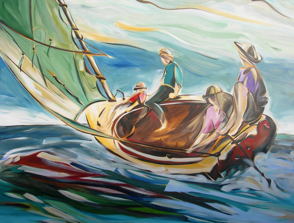 Sail 2015 - Wind in My Sails ; Homage to Winslow Homer - Breezing Up  54 X 54  SOLD (1000 x 750).jpg
