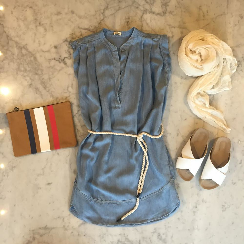 J'engage ma fidelite a   L'Agence  - A soft summer denim dress from   L'Agence   complete with   Clare Vivier   French flag clutch,   L'Agence   sandals and white   Destin   scarf