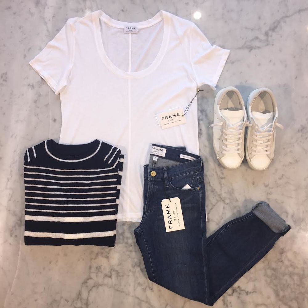 Back to basics:   Frame Denim   tee and jeans,   MiH   sweater, and   Philippe Model   sneakers