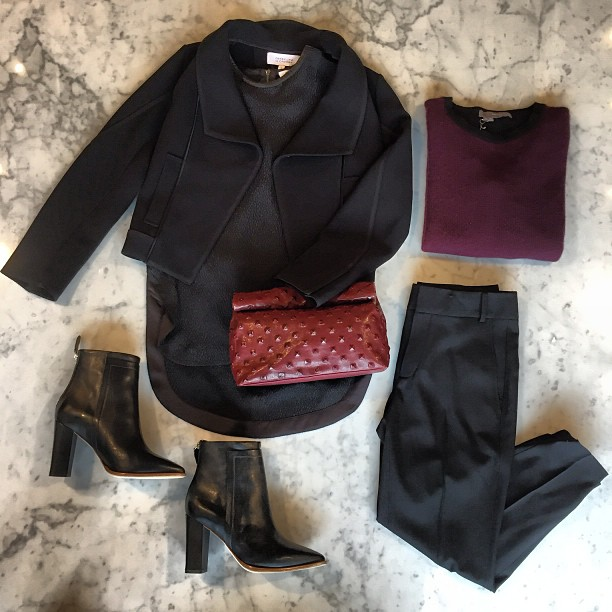 """I'll stop wearing black when they invent a darker color.""-Emmanuelle Alt -    Helmut Lang   trousers and shirt,   Marie Turnor   clutch,   10 Crosby   jacket,   Loeffler Randall   boots, and   360 Sweater  !"