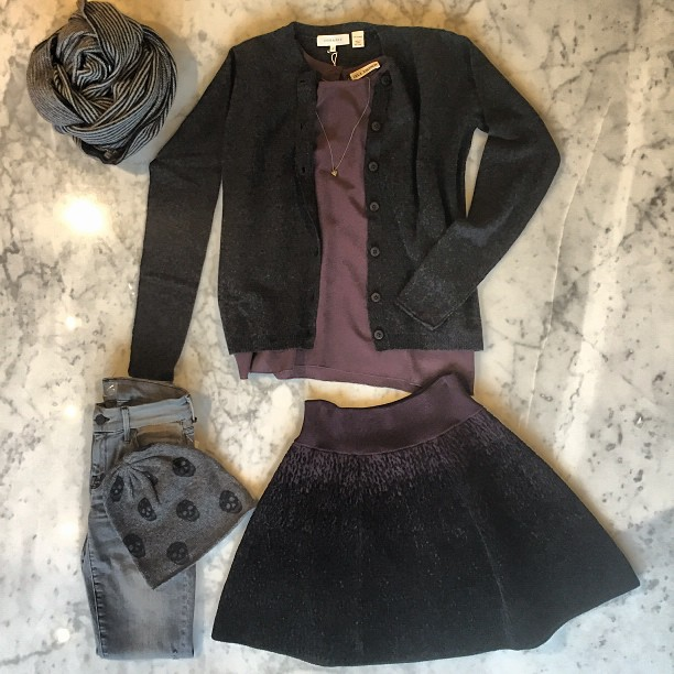 Brrrrrgundy for winter!:   Skull Cashmere   beanie,   Mother Denim  ,   Inhabit   sweater,   ALC   skirt and   Ulla Johnson   top