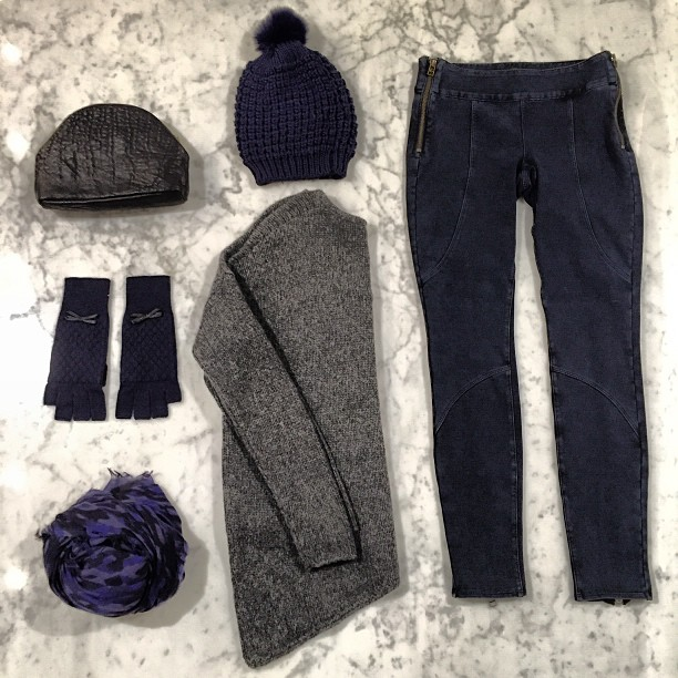 Bundled in grey-blue:   Helmut Lang   Sweater,   DWP   moto jeans,   Jocelyn Fur   beanie,   Mr   bag,   Autumn Cashmere   gloves, and   Destin   scarf.