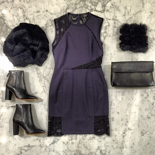 """I see you in midnight blue"" -ELO   Loeffler Randall   boots,   Cut 25   dress,   Golden Lane   bag, and   Jocelyn Fur"