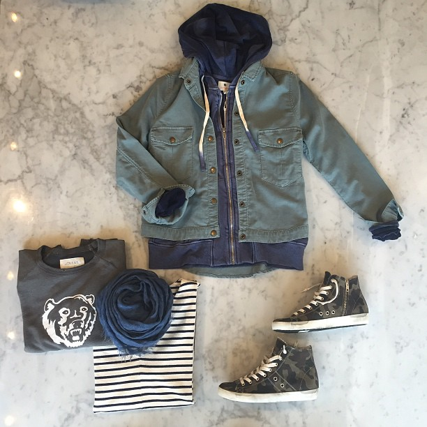 Layering up with   The Great   sweatshirt and jacket,   Sundry   hoodie, and   MiH   top--complete with   Leather Crown   sneakers and   Destin   scarf!