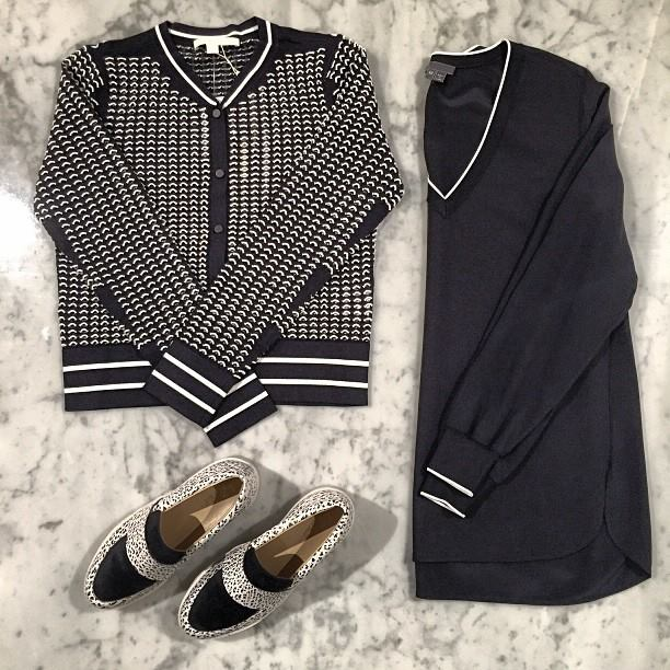 Hit the fast track to cool in sporty stripes! Loeffler Randall slips, Vince top and Jonathan Simkhai cardigan
