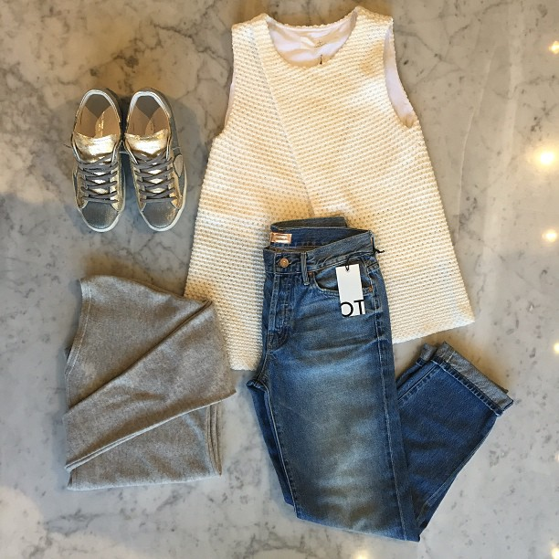 Cross over (top) and put on your boyfriend jeans! Thakoon Addition crossover top, Mother Denim, Philippe Model sneakers, and Vince sweater!