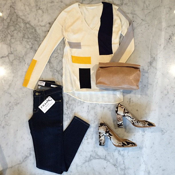 In a geometric frame of mind: Cute abstract prints from Thakoon Addition! Bag by Marie Turnor, Frame Denim jeans, Loeffler Randall pumps