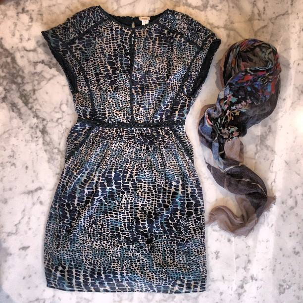 Embroidered petroleum print shift dress in the Hoss (Intropia) with a Franco Ferrari scarf