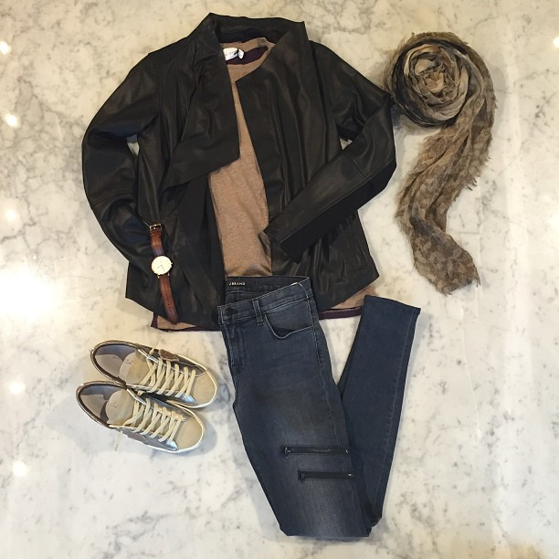 Look effortlessly cool in J Brand moto-chic jeans and refined modern feather leather jacket from Vince paired with Philippe Model sneakers, Daniel Wellington Watch, Iro.jeans tee and Franco Ferrari scarf