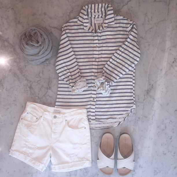 California Tailor top, Mother Denim cuffed shorts, Loeffler Randall sandals and Destin scarf