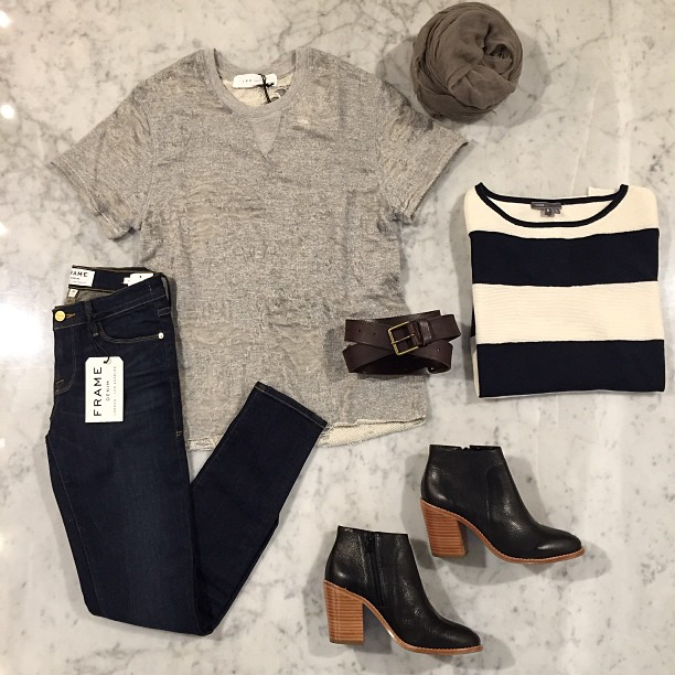 Iro.jeans short sleeved distressed sweatshirt, Loeffler Randall booties, Vince sweater, Destin Scarf and Frame Denim